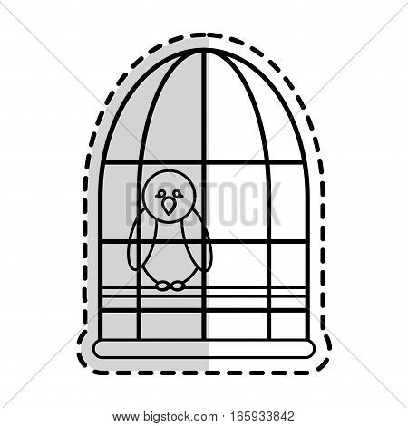 bird in a cage cartoon icon over white background. vector illustration