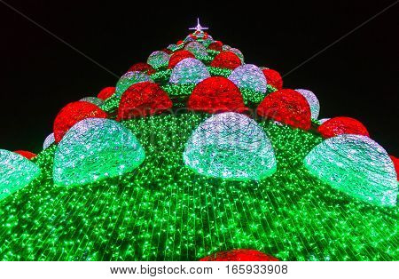Bright illuminated Christmas tree in Lisbon, Portugal