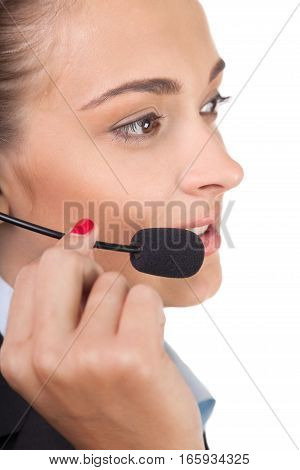 Closeup of a Female Phone Operator in Headset