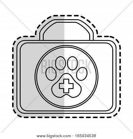Dog First Aid box icon over white background. pet shop design. vector illustration