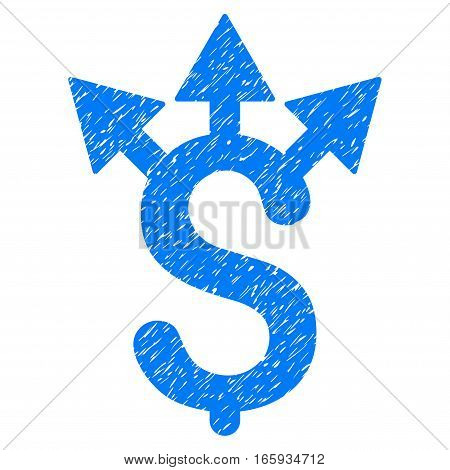 Expences grainy textured icon for overlay watermark stamps. Flat symbol with unclean texture. Dotted vector blue ink rubber seal stamp with grunge design on a white background.