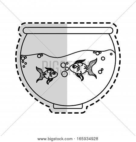 fishbowl cartoon icon over white background. vector illustration