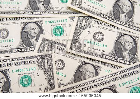 1 dollar bills as background. business concept