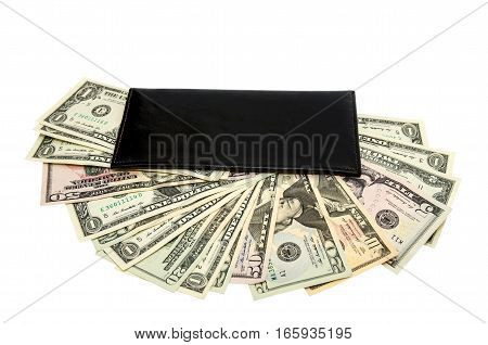 black purse with dollars isolated on white background