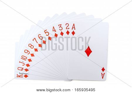 Play cards isolated on white background. Poker diamonds