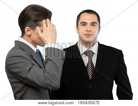 Portrait of a Confident Businessman with Employee, Isolated