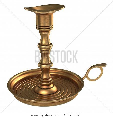 Antique Brass Candle Holder on white background. 3D illustration