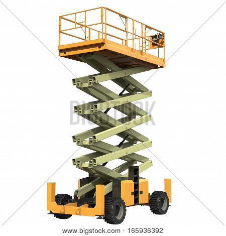 Mobile aerial work platform - Yellow scissor hydraulic self propelled lift on a white background. 3D illustration