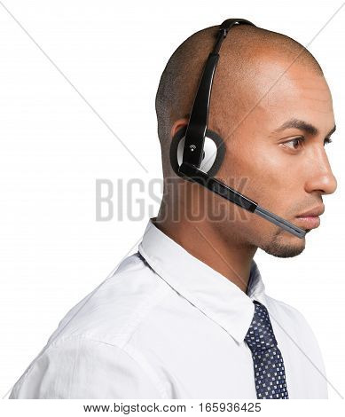 Portrait of a Male Phone Operator in Headset