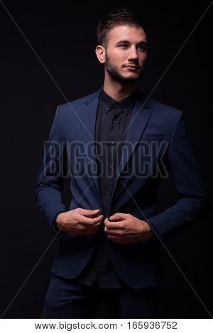 Buttoning Jacket, Young Elegant Man