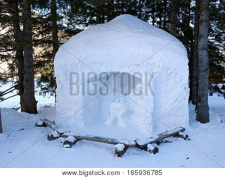 Snow Bethlehem - High Tatras - Slovakia , Christmas nativity Holy family scene
