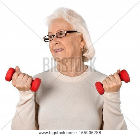 Portrait of old Woman with dumbells, Isolated on Transparent Background
