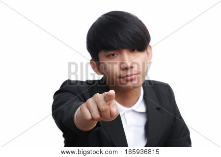 handsome business man wagging finger on white background