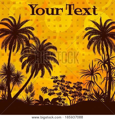 Exotic Landscape, Palms Trees and Tropical Plants Silhouettes on Abstract Geometric Background. Eps10, Contains Transparencies. Vector