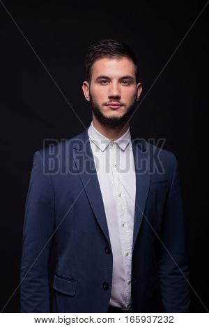 Handsome Proud Good Looking Man Suit Looking At Camera