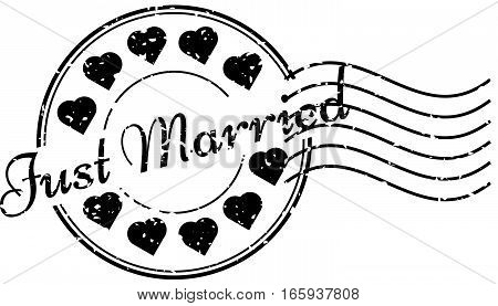 Grunge black just married and heart icon round rubber stamp with postmark