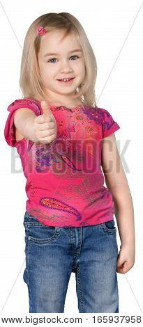 Cute Little Girl Giving Thum Up - Isolated