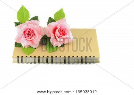 rose pink on book on white background valentine day concept