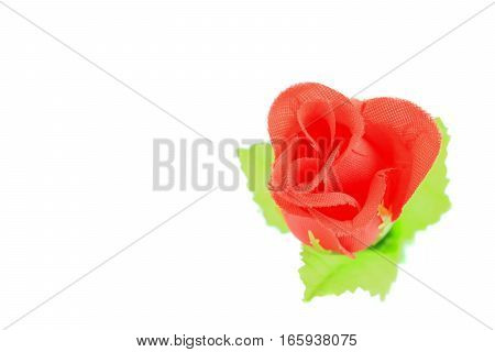 rose red fabric on white background .