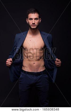 Man Model Showing Abs Fit Slim Body Suit Jacket Elegant
