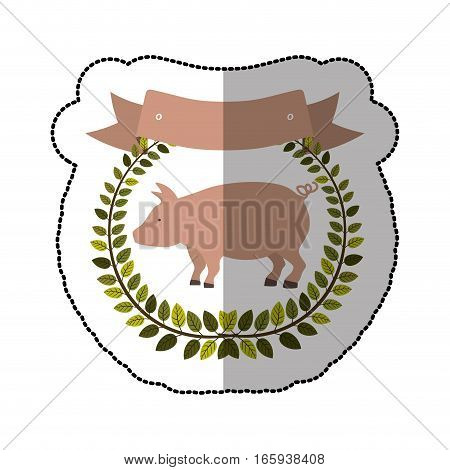 middle shadow sticker colorful with olive crown with pink pig vector illustration