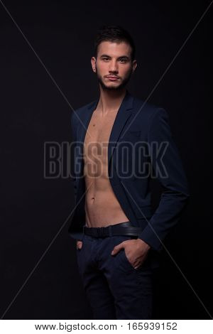 Man Shirtless Abs Suit Jacket Sexy Looking