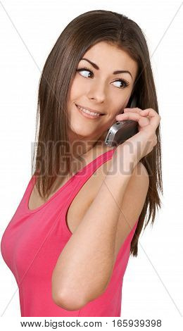 Friendly Young Woman Talking on Phone and Looking Back - Isolated