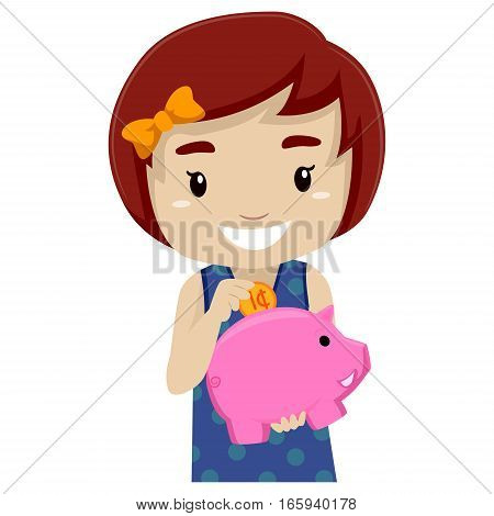 Vector Illustration of a Little girl holding Piggy Bank