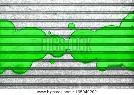 Green bubbles painted with spray paint on a roller shutter. It can be used as a poster design t-shirts and more. Fully editable.