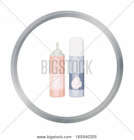 Whipped cream in an aerosol can icon in cartoon style isolated on white background. Milk product and sweet symbol vector illustration.