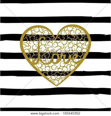 Seamless pattern with gold heart with swirls and letters Love on striped background. Word Love is enclosed in a large heart with gold glitter effect. Grunge style