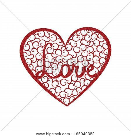 Word Love is enclosed in a large heart with red glitter effect. Valentines day card with red heart with swirls and letters Love