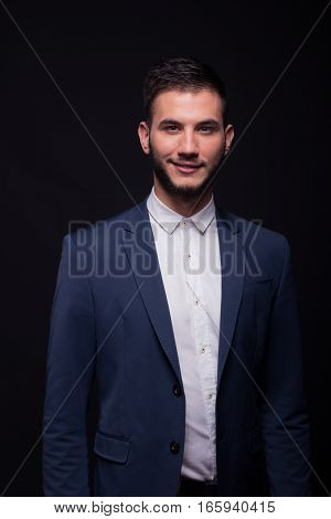 Young Adult Man Smiling Posing Model Elegant Suit