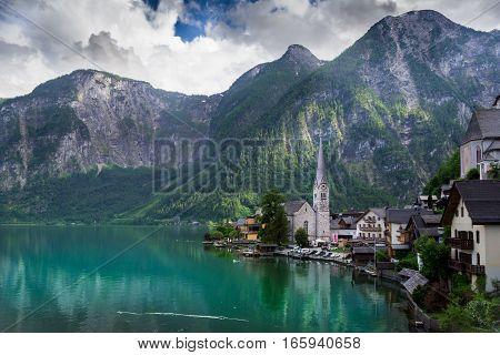 Beautiful Austrian mountains, small village and lake
