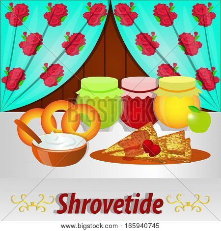 Shrovetide . Pancakes , bagels and other treats for the holiday . Vector illustration. Postcard