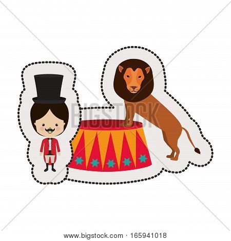 dotted sticker circus ceremony master with lion vector illustration