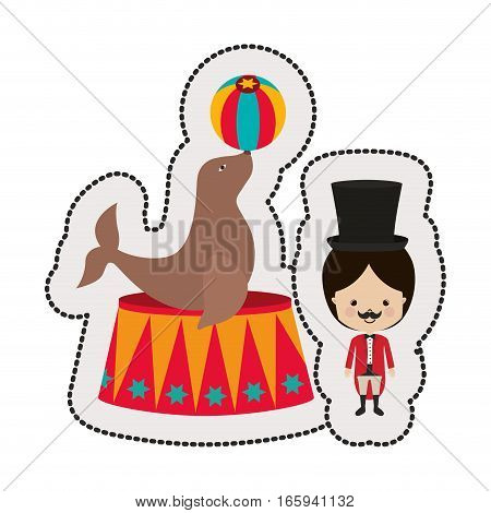 circus ceremony master with seal vector illustration