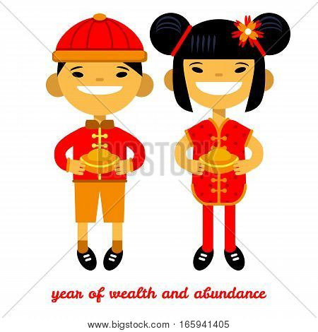 boy and girl with the golden in their hands, Chinese New Year card, wealth and abundance. Vector illustration of flat design
