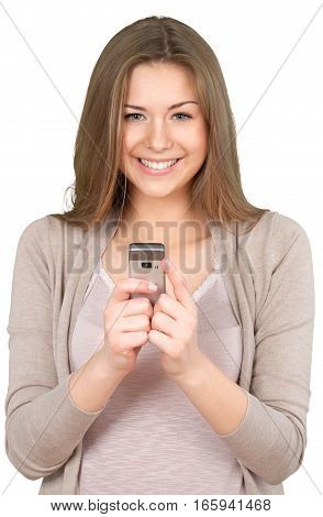 Excited Young Woman with Mobile Phone - Isolated