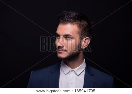 Young Man Head Shoulders Face Looking Sideways