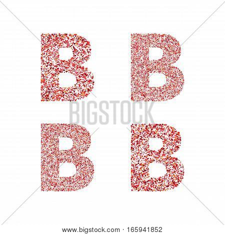 Alphabet letter B with red heart on Valentine's Day. Valentine`s Day Alphabet of Hearts. Love ABC
