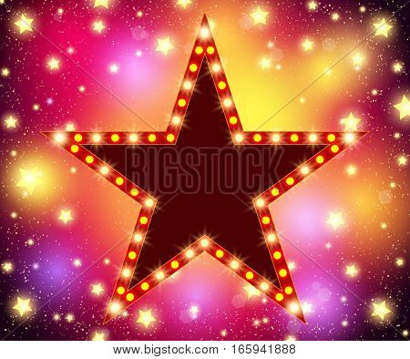 Star Retro Light Banner On Shining Background