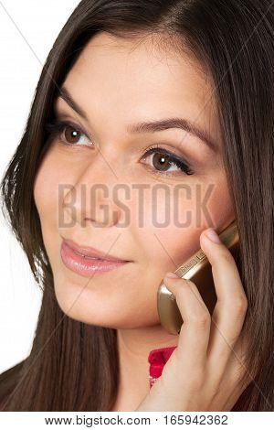 Close-Up of Beautiful Woman Talking on The Phone - Isolated