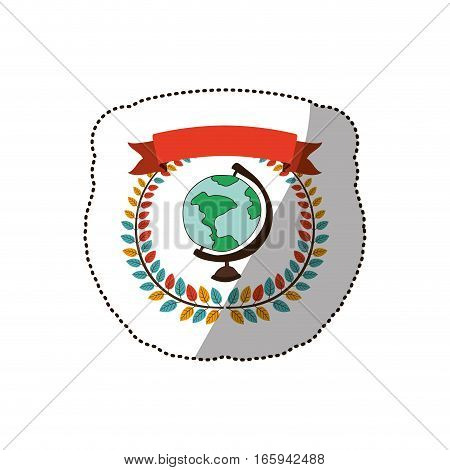 dotted sticker arch of leaves with map of the world vector illustration
