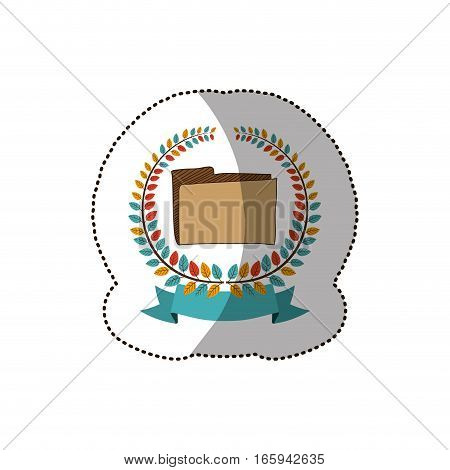dotted sticker arch of leaves with folder vector illustration