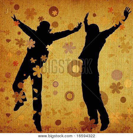 jumping people on retro background with flowers