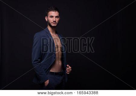 Young Man Profile, Suit Elegant, Copy Space