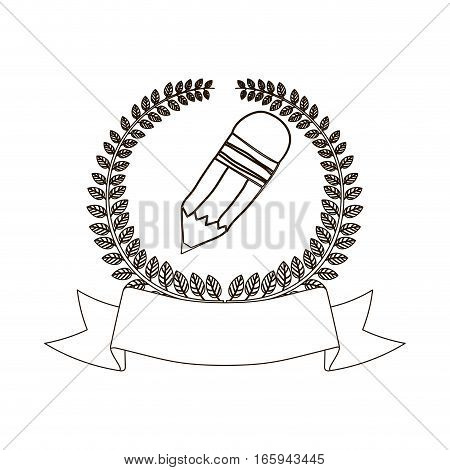 arch of leaves with pencil and label vector illustration