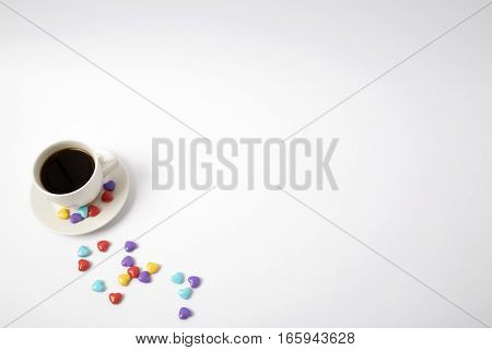 coffee cup with heart on white texure. love. valentines day