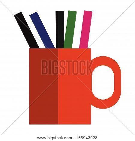 cup with pens and pencils over white background. colorful desing. vector illustration